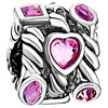 Heart And Round Pink Crystal October Birthstone All Brands Euro Beads Charms Bracelets