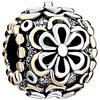 Round With Beautiful Hollow Flowers Two Tone Plated Beads Charms Bracelets