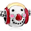 22K Cute Snowman Red Drip Nose Earphone Xmas Gold Plated Beads Charms Brac...
