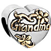 Heart With Flower And Grandma Love Two Tone Plated Beads Charms Bracelets