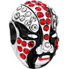 Garnet Red Crystal Diamond Accent Peking Opera Mask Silver Plated Beads Ch...