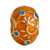 22K Orange Sapphire Blue Crystal Floral Vine Easter Faberge Egg Gold Plate...
