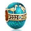 22K Aquamarine Blue Enamel Couple Birds Love Faberge Egg Gold Plated Beads...