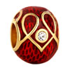 22K Garnet Red Clear White Crystal Heart Love Easter Faberge Egg Gold Plat...