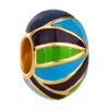 22K Blue Green Black Stripes Easter Faberge Egg Gold Plated Beads Charms Bracelets