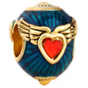 22K Wings Sapphire Blue Enamel Garnet Red Crystal Heart Easter Faberge Egg Love Gold Plated Beads Charms Bracelets