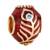 22K Peacock Tail Garnet Red Aquamarine Blue Crystal Easter Faberge Egg Gol...