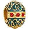 Vintage Red Crystal Sapphire Blue Faberge Egg Fit All Brands Gold Plated Beads Charms Bracelets