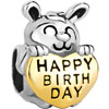 Cute Rabbit Holding Heart With Happy Birthday Euro Love Two Tone Plated Beads Charms Bracelets