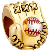 22K Baseball Mitten Sport All Brand Gold Plated Beads Charms  ...