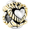 22K Love Heart Circle All Brand Two Tone Plated Beads Charms Bracelets