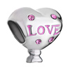 Pink Crystal Love Heart Silver Plated Beads Charms Bracelets