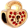 22K Ruby Red Crystal Heart Lock Love All Brand Gold Plated Beads Charms Br...