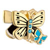 22K Double Butterfly Aquamarine Blue Crystal Gold Plated Beads Charms Brac...