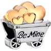 22K Cute Cart Engraved Be Mine Full Of Hearts Love Two Tone Plated Beads C...