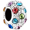 Fashion Multi Color Crystal Birthstone Fit All Brands Two Tone Plated Beads Charms Bracelets