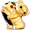 22K Cute Bear Leaning On Red Green Crystal Xmas Tree Gold Plated Beads Cha...