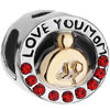 I Love Mom Red Swarovski Crystal Mother Baby Fit All Brands Two Tone Plated Beads Charms Bracelets