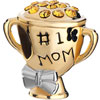 22K Silver Mother&#039;S Day Cup Number One Mom Citrine Yellow Crystal Bowknot ...