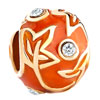 22 K Golden Orange Drip Gum Maple Leaf Clear Crystal Faberge Egg Fit All Brands Gold Plated Beads Charms Bracelets