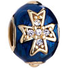 22K Clear White Crystal Sapphire Blue Drip Gum Cross Easter Faberge Egg Go...