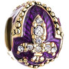 22K Purple Drip Gum Fleur De Lis Clear White Crystal Easter Faberge Egg Go...