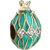 22K Rabbit Aqua Drip Gum Clear White Crystal Easter Faberge Egg Gold Plated Beads Charms Bracelets