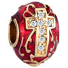 22K Garnet Red Drip Gum Golden Cross Clear White Crystal Easter Faberge Egg Gold Plated Beads Charms Bracelets