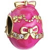 22K Clear White Crystal Deep Pink Drip Gum Golden Bowknot Easter Faberge Egg Gold Plated Beads Charms Bracelets