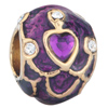 22K Amethyst Purple Clear White Crystal Heart Love Easter Faberge Egg Gold Plated Beads Charms Bracelets