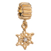 Pugster 22k Gold Plated Winter Snowflake Dangle Clear Crystal Xmas Bead Charm Fit All Brand Bracelet
