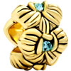 22K Mar Birthstone Aquamarine Blue Crystal Orchid Flower Gold Plated Beads...