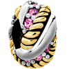 Golden Rose Pink Crystal Diamond Spacer Wheel For Two Tone Plated Beads Charms Bracelets Fit All Brands