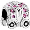 Cute Pumpkin Car With Pink October Birthstone Crystal All Brands Silver Plated Beads Charms Bracelets