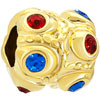 22K Garnet Red Sapphire Blue Crystal Diamond Accent Gold Plated Beads Char...