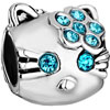 Blue Crystal December Birthstone Cute Cat Fit All Brands Silver Plated Beads Charms Bracelets