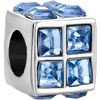 Square Pale Blue Crystal Diamond Accent All Brand Silver Plated Beads Char...