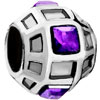 Ball With February Birthstone Purple Crystal All Brands Silver Plated Beads Charms Bracelets