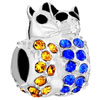 925 Sterling Silver Cute Yellow Blue Crystal Diamond Accent Double Cat Bea...