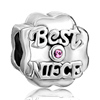 "October Birthstone ""Best Niece"" Silver Plated Beads Charms Brace..."