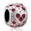 Bling Garnet Red Swarovski Crystal Heart Fit All Brands Silver Plated Beads Charms Bracelets