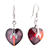 Red January Birthstone Crystal Heart Dangle Earrings