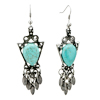 Vintage Silver Triangle Turquoise  Chandelier  Dangle Earrings