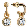 Golden Three Quarter Ring Dangle Round With April Birthstone Clear Crystal...