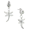 Round With April Birhtstone Clear Crystal Dangle Sterling Silver Dragonfly...