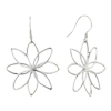 Sterling Silver Octagon Petal Flower Dangle Earrings