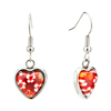 Red Heart With White Flower Millefiori Murano Glass Dangle Love Earrings