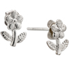Sterling Silver Flower With Leaves Stud Earrings