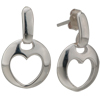 Round Shape With Heart Pattern Studded Sterling Silver Earrings