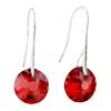 July Red Drop Crystal Sterling Silver Earrings